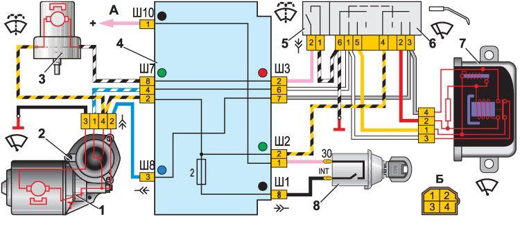 Электросхема системы очистки стекла