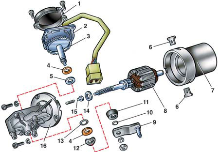 Схема мотора и редуктора дворников семерки