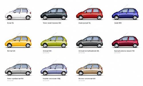 Цветовая гамма модельного ряда Равон Матиз